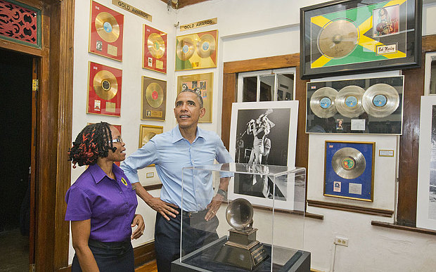 Barack Obama visits the Bob Marley Museum